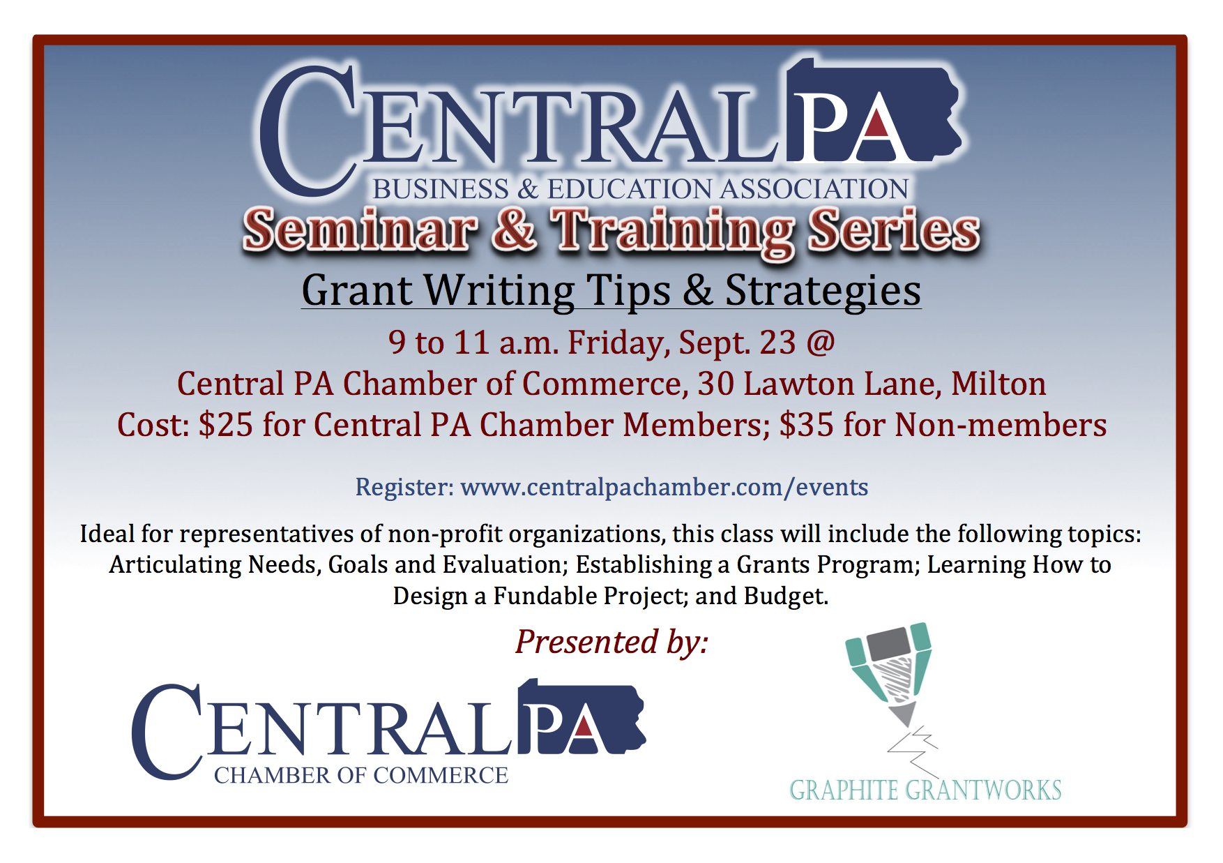 *POSTPONED* Grant Writing Tips & Strategies - Central PA Chamber of Commerce