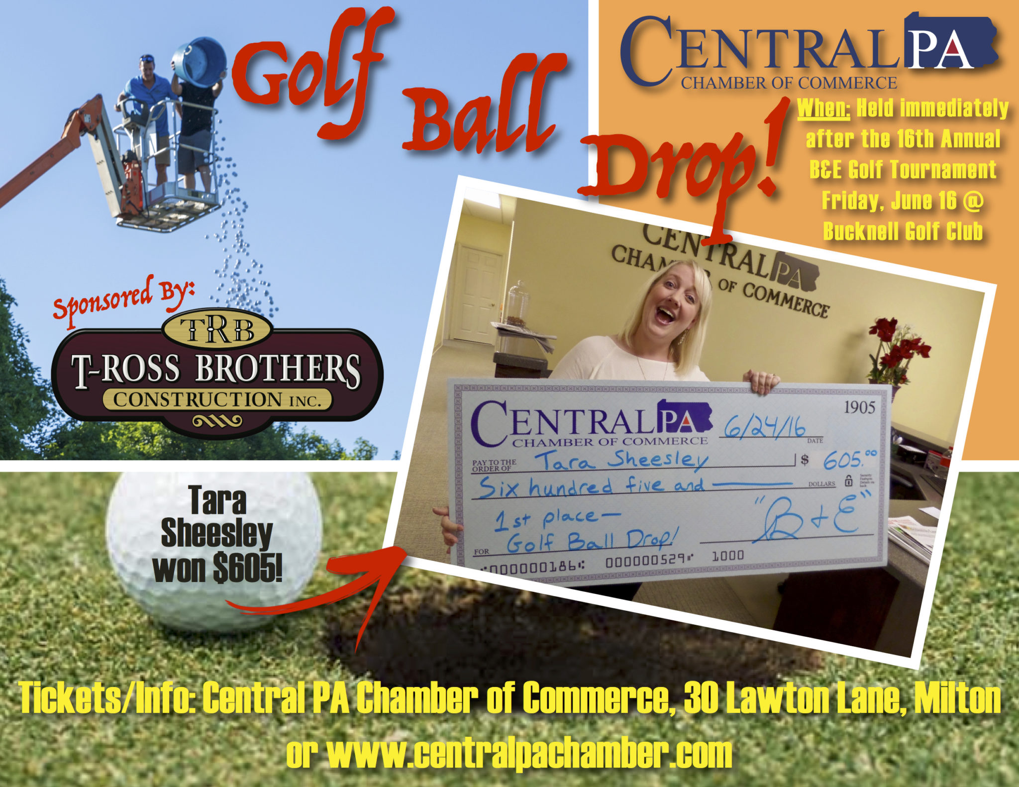 Golf Ball Drop flyer T-Ross