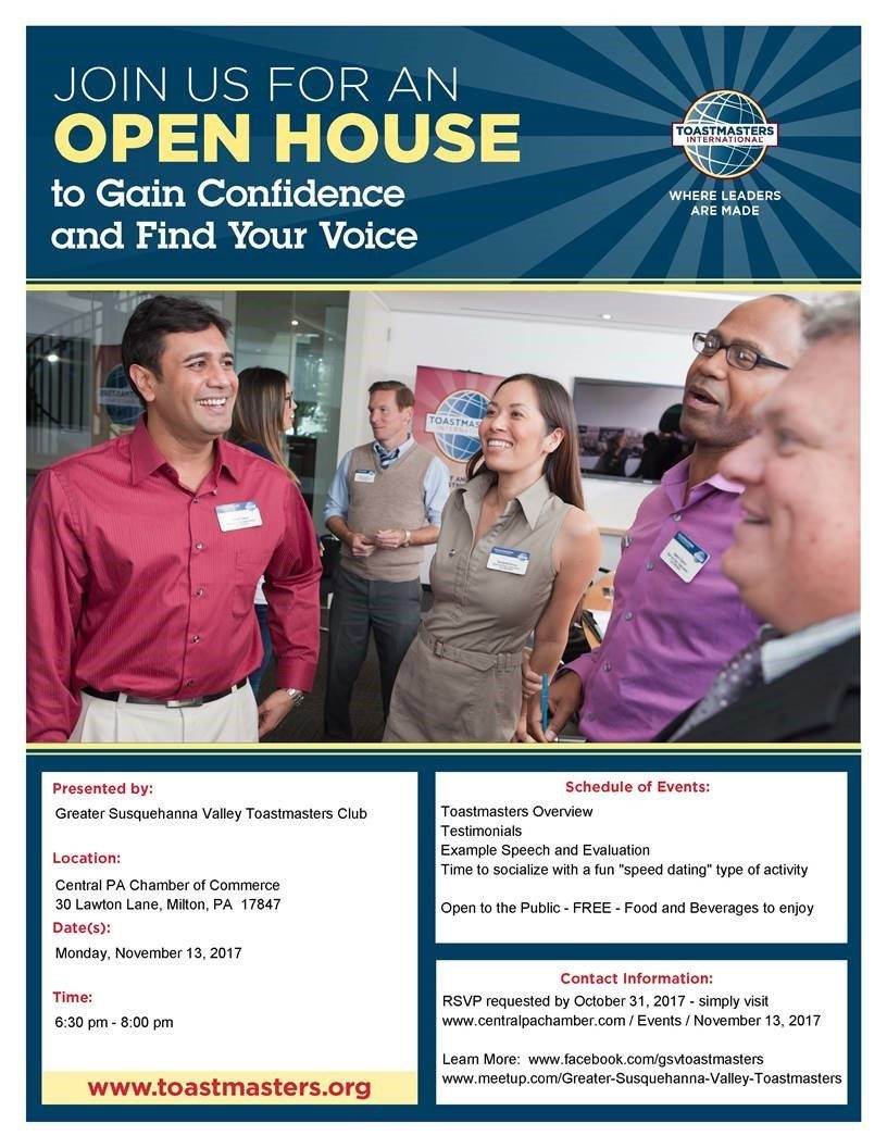 Greater Susquehanna Valley Toastmasters Club: Open House | Central ...