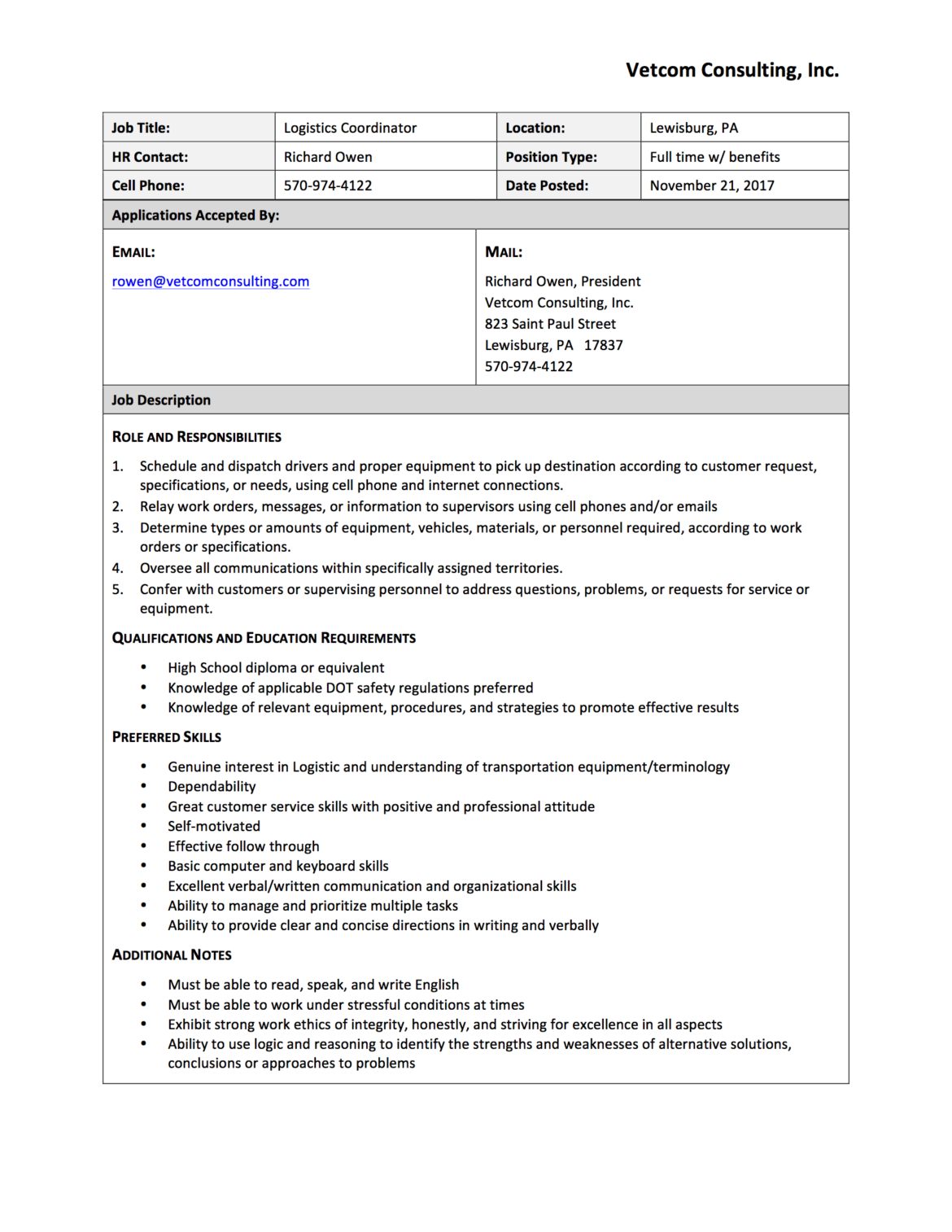 job description central pa chamber of commerce